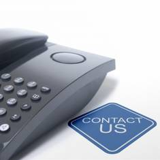 image shows telephone with text 'contact us'